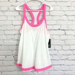 Chaser Tank Top White Pink Small New
